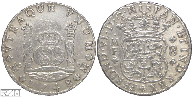 Spanish America Eight Reales 1748 Mexico City