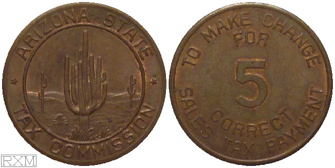 Tax Token Arizona Copper Sales Tax Five