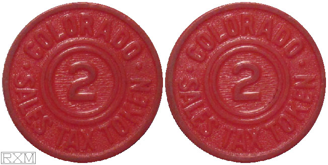 Tax Token Colorado Plastic Red Sales Tax Two