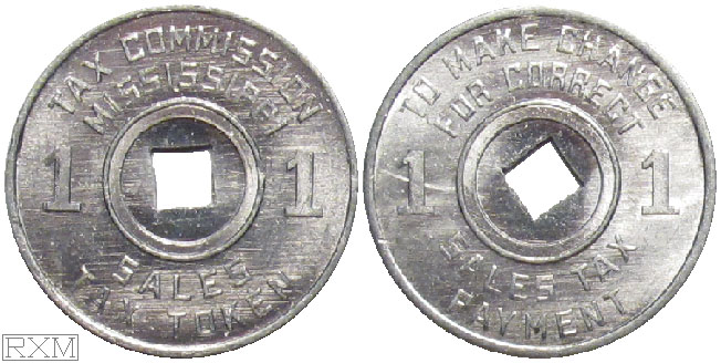 Tax Token Mississippi Aluminum Sales Tax One