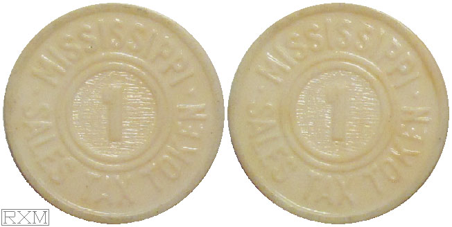 Tax Token Mississippi Plastic White Sales Tax One