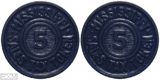 Tax Token Mississippi Plastic Blue Sales Tax Five