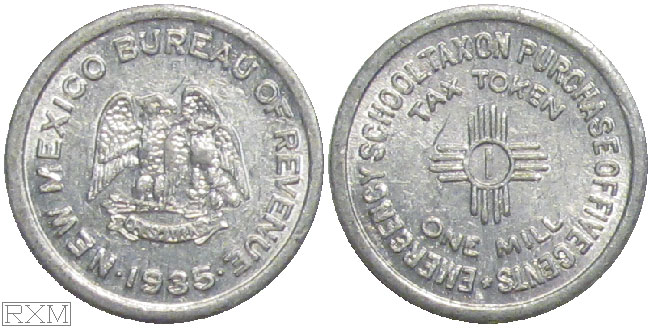 Tax Token New Mexico Aluminum School Tax One