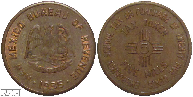 Tax Token New Mexico Copper School Tax Five