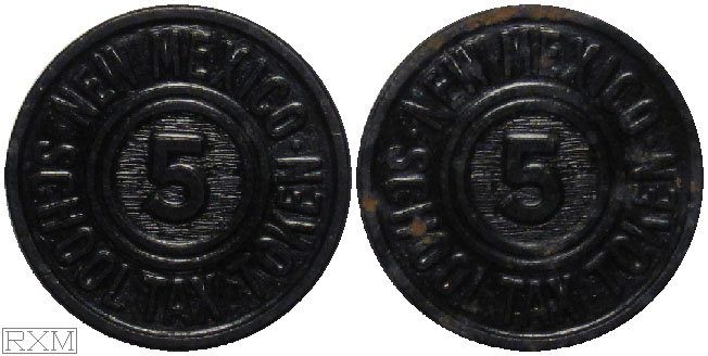 Tax Token New Mexico Plastic Black School Tax Five