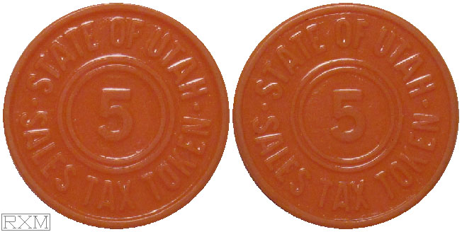 Tax Token Utah Plastic Orange Sales Tax Five